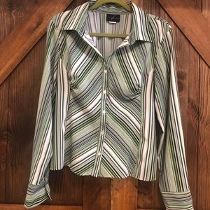 5/$25 Soft sateen green and white striped blouse